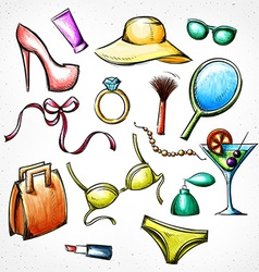 Set color sketch female accessories Imitation of vector