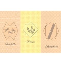 Set linear pasta Italian cuisine flyers vector