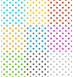 set of 9 seamlessly repeatable polka dots patterns vector image