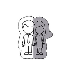 silhouette couple sticker icon vector image