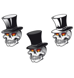 skull in top hat vector image