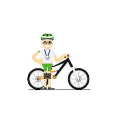 Smiling cyclist with mountain bike vector