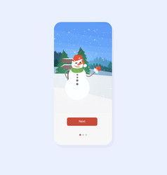 snowman with hat and scarf waving had merry vector image