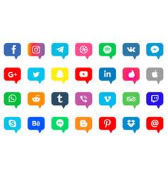 Social media icons set facebook twitter vector