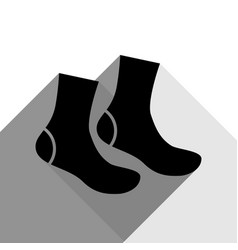 Socks sign black icon with two flat gray vector
