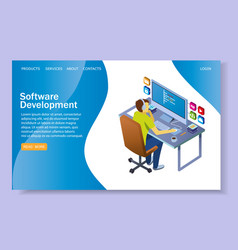 software development website landing page vector image