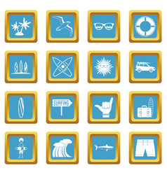 surfing icons azure vector image