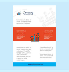 template layout for graph rising comany profile vector image