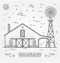 thin line american farm icon vector image