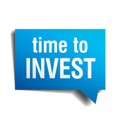 Time to invest blue 3d realistic paper speech vector
