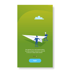two businessmen launching paper plane creative vector image