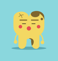 Unhappy cartoon tooth character with decay vector