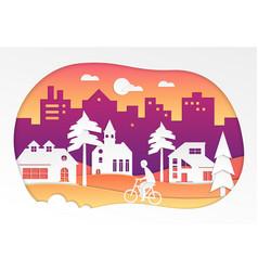 urban landscape - modern paper cut vector image