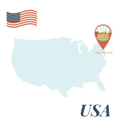 usa map with atlantic city pin travel concept vector image
