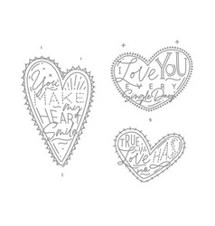 valentines day flat hearts vector image