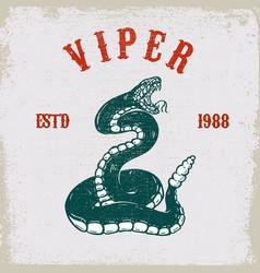 Viper snake on grunge background design element vector