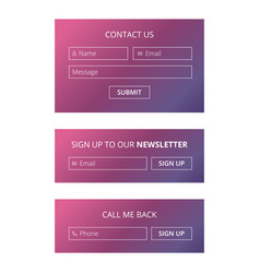 Website contact and sign up forms vector
