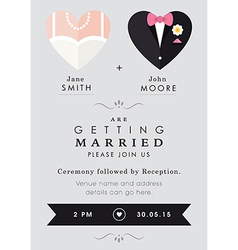 Wedding invitation heart theme vector
