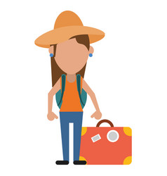 Woman traveling hat and suitcase vector