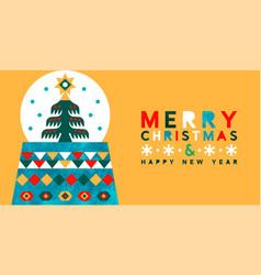 year modern folk art snow globe card vector image
