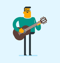 young caucasian man playing the acoustic guitar vector image