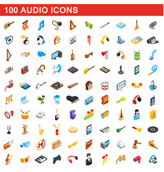 100 audio icons set isometric 3d style vector image vector image
