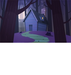 Cabin in woods - night vector