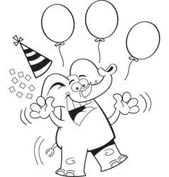 Carton elephant with balloons vector image vector image