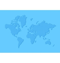 Dotted world map made of rounded rectangles vector image