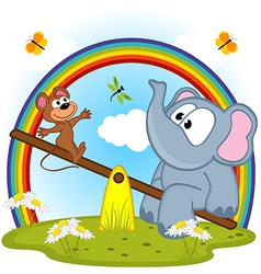 elephant and mouse riding on seesaw vector image vector image