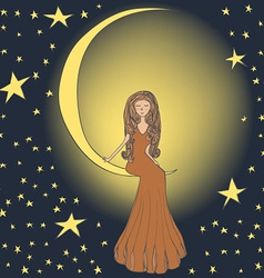 Girl on the moon vector image