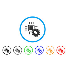 hitech processor and gear integration rounded icon vector image