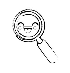 magnifying glass cartoon smiley vector image