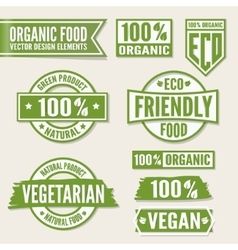 Set of bright green labels and logo Natural eco vector image