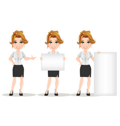 Young cartoon businesswomen set beautiful smiling vector