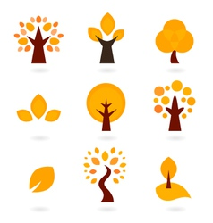 Autumn trees icons isolated on white - orange vector image vector image