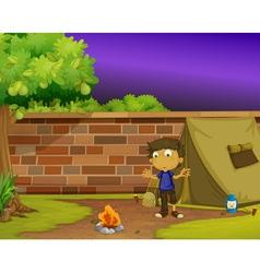 Boy camper vector image vector image