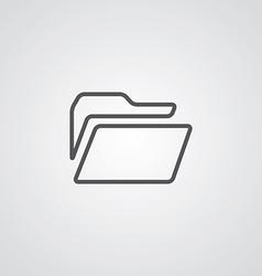 folder outline symbol dark on white background vector image vector image