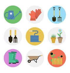 nine color flat icon set - gardening vector image