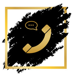 phone with speech bubble sign golden icon vector image vector image