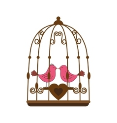 pink bird cage valentine vector image vector image
