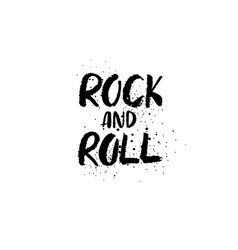 rock and roll brush lettering vector image