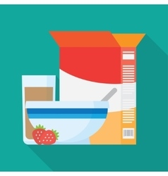 Bowls of breakfast cereal vector image