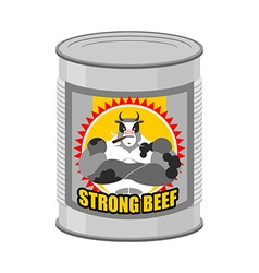 canned meat beef Canned food from a serious and vector image