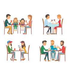 people in cafe vector image