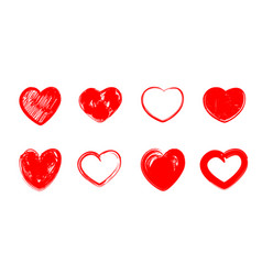 Red grunge hearts vector