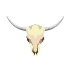 White skull with horns vector
