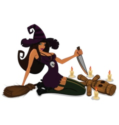 witch with voodoo doll vector image