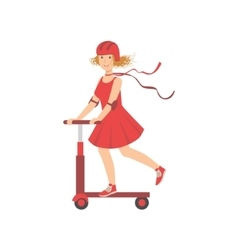 Woman In Red Dress Riding A Scooter vector image vector image
