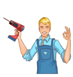 Young handsome man with drill isolated eps10 vector image